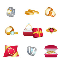 wedding rings marriage symbols golden jewellery vector image