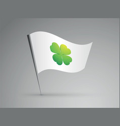 white flag with green cloverleaf vector image
