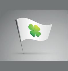White flag with green cloverleaf vector