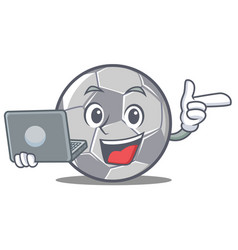 with laptop football character cartoon style vector image
