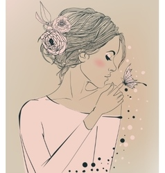 Young beautiful woman with flowers vector