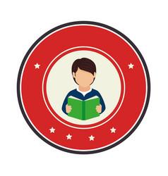 Color circular frame with half body man with book vector