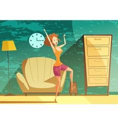 Girl Dancing Alone Cartoon Poster vector image