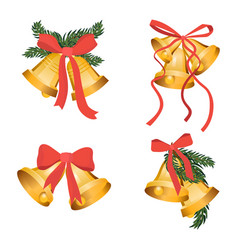 golden christmas bells holiday collection with vector image vector image