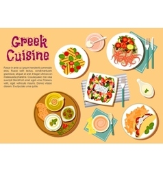 Greek cuisine flat icon with appetizer dishes vector image
