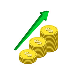 Growing income concept symbol flat isometric icon vector