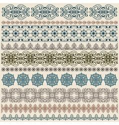 seamless vintage border patterns vector image vector image