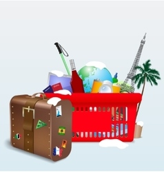 vacation shopping cart vector image vector image