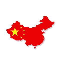China flag map with shadow effect vector image