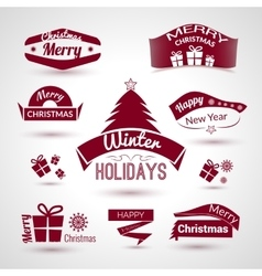 Christmas and new year set of trendy icons vector image vector image