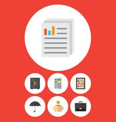 Flat icon gain set of portfolio counter money vector