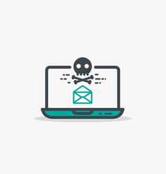 Opened email and malware laptop vector