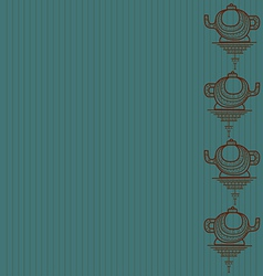 Pattern of silhouette of teapot on a blue backgrou vector image vector image