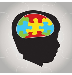 Autism Awareness Silhouette and Brain vector image