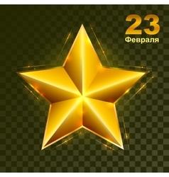 Gold star on transparent background Defender of vector image vector image