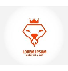 lion head in the form of diamond vector image vector image