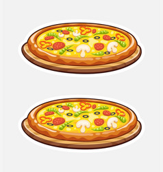 pizza on wooden board italian vector image vector image