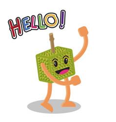 smiling durian fruit cartoon mascot character vector image