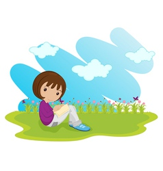 girl sitting vector image vector image