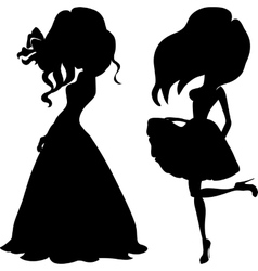 Silhouette fashion girls top models vector image