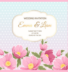 spring wedding invitation pink anemone hellebore vector image