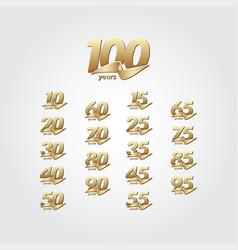 100 years anniversary celebration gold ribbon vector