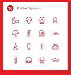 16 cap icons vector