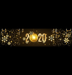 2020 happy new year gold greeting card with vector image
