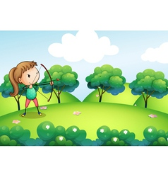 A girl with a bow and arrow vector