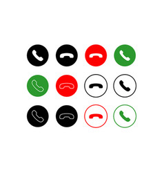 Accept and decline call or red green black and vector