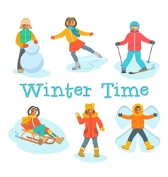 African kids play snow winter outdoor games vector