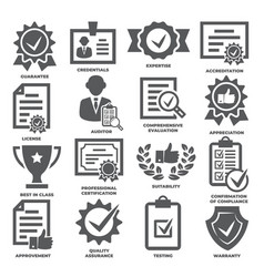 approvement and accreditation icons set on white vector image