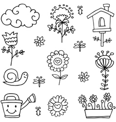 Art of spring theme doodles vector