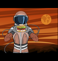 astronaut with fast food hamburger vector image