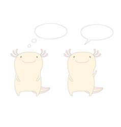 Axolotls with speech bubbles vector
