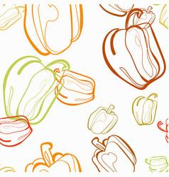 bell pepper vegetable seamless bright pattern vector image