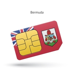 Bermuda mobile phone sim card with flag vector