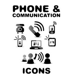 Black glossy phone communication icon set vector