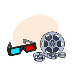 blue-red stereoscopic 3d glasses and cinema film vector image