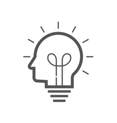 brain idea icon idea and imagination simple liner vector image