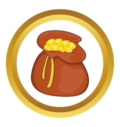 Brown money bag full of coins icon vector