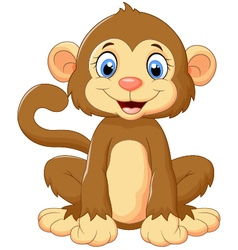 Cartoon cute monkey sitting vector