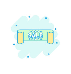 Cartoon sale ribbon icon in comic style discount vector