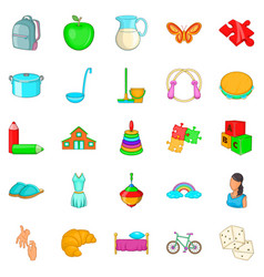 Childminder icons set cartoon style vector