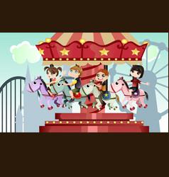 Children in amusement park vector