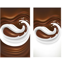 chocolate wavy background with milk tongue splash vector image