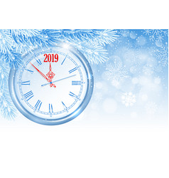 christmas and new year clock vector image