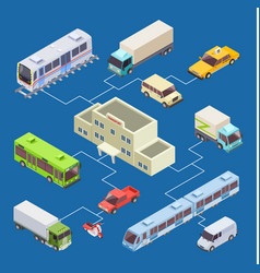 city transport set 3d isometric concept vector image