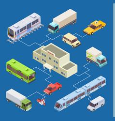 city transport set 3d isometric concept vector image