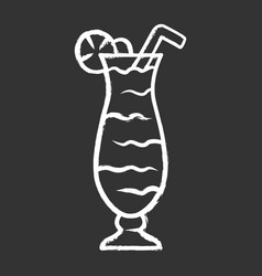 Cocktail in hurricane glass chalk icon refreshing vector
